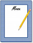 Menu, Blue Gingham