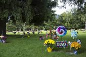stock photo of memorial  - Memorial Day graveside memorial to a father and dad - JPG
