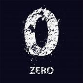 pic of zero  - White grunge number zero with ink blots - JPG