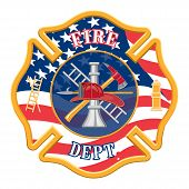 pic of maltese-cross  - Fire Department Cross is an illustration of a fire department or firefighter cross with the firefighters tools logo and the United States flag shape - JPG