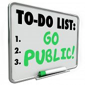 stock photo of initials  - Go Public make initial stock offering or IPO to raise money or funds for your new company - JPG