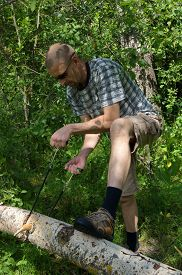 foto of man chainsaw  - Man cuts a tree with manual chainsaw in the forest - JPG