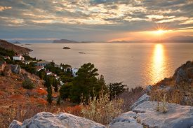 pic of hydra  - Western end of the town of Hydra and view of the coastline and Peloponnese peninsula - JPG