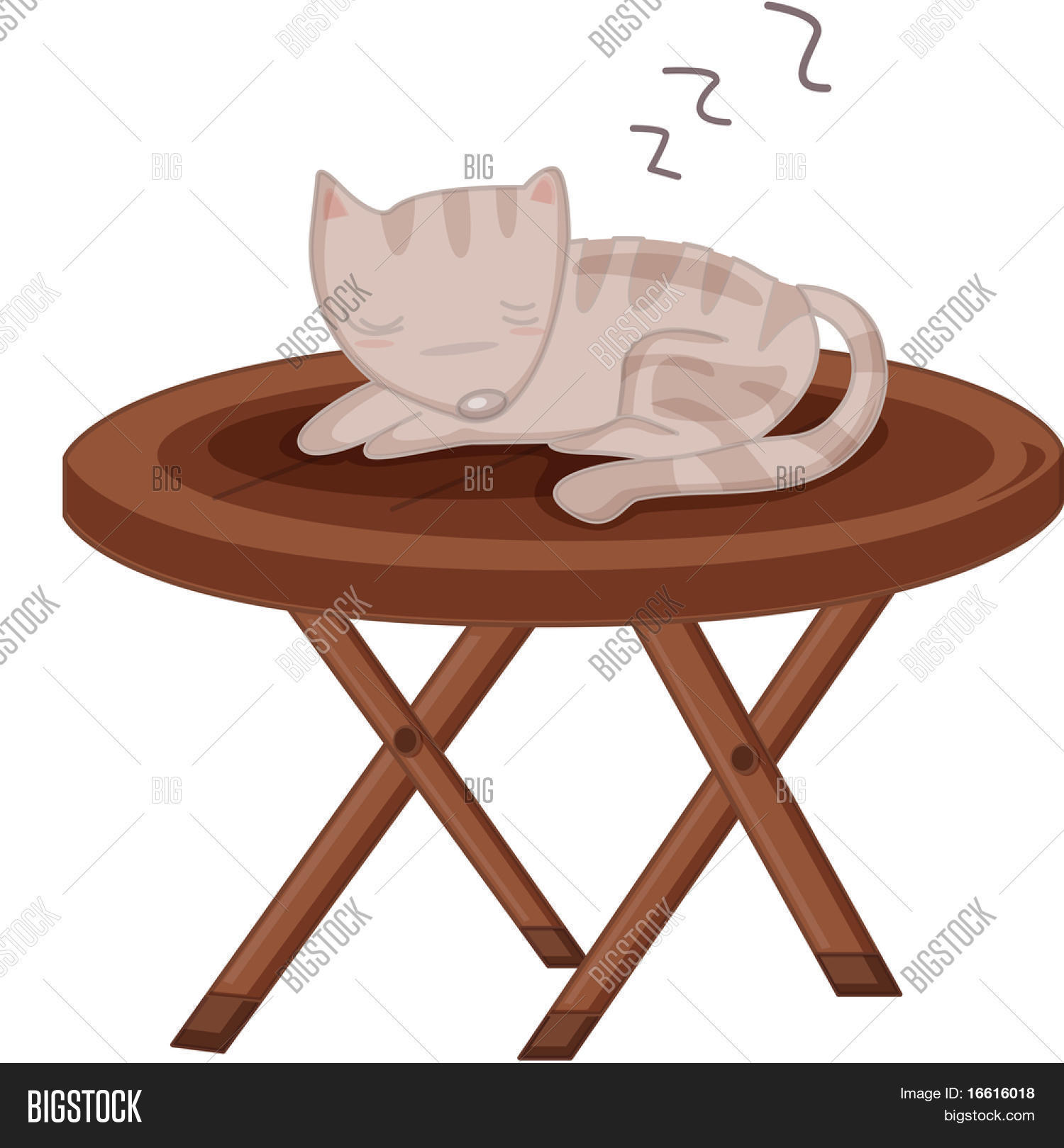 illustration of a cat sleeping on a table stock photo