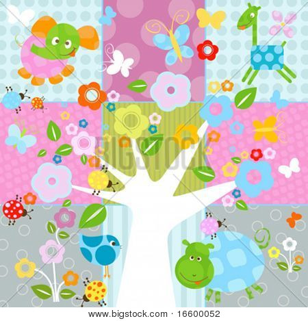 nature background with flowers and animals