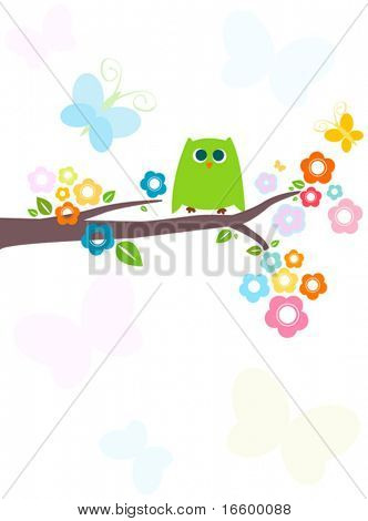 cute green owl with flowery tree