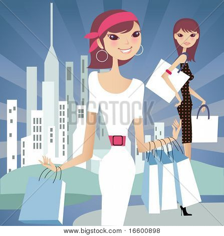 shopping in a city