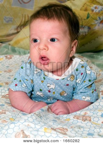 Two Month Baby With Amazed Look
