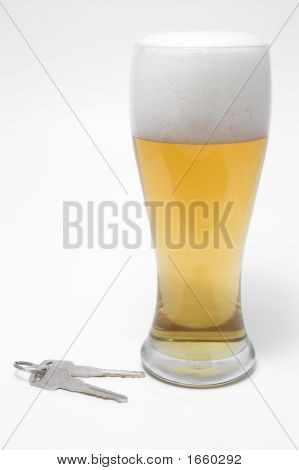 Beer And Car Keys - Drunk Driving Concept