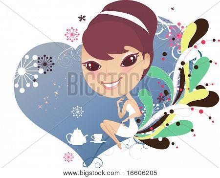 cute sweet little girl having tea break