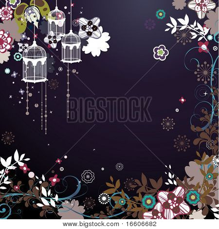 Spring vector pattern with colorful flowers and bird cage