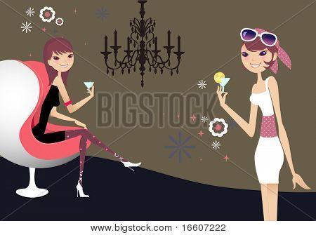 2 pretty girls enjoying at the pub