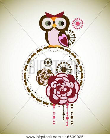 little owl and abstract floral wallpaper