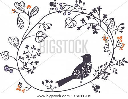 round shape floral with bird
