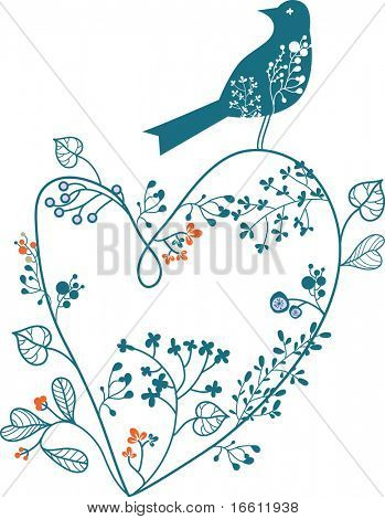 heart shape floral with bird