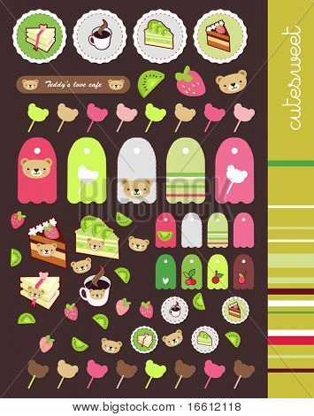 scrapbook stickers and labels set