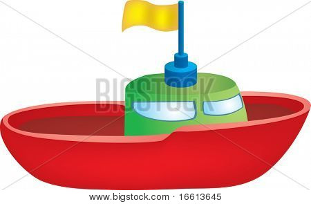 Illustration of a red toy boat with yellow flag