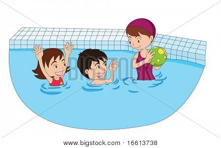cartoon illustration of a family swimming together
