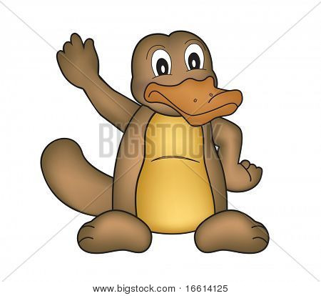 high detailed illustration of a platypus waving with hand