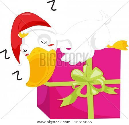 illustration of duck sleeping on christmas present