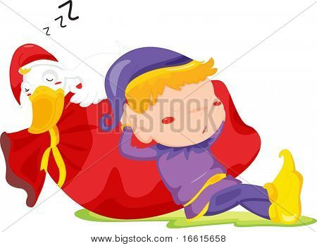illustration of elf and duck sleeping