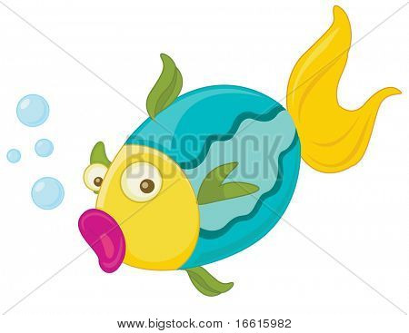 Illustration of a fish blowing bubbles