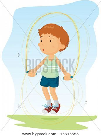 Illustration of a boy skipping