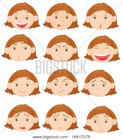 an illustration of twelve different facial expressions
