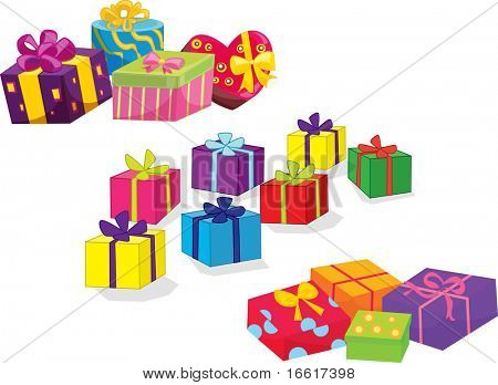 an illustration of a bunch of birthday or christmas presents