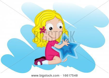 Illustration of a girl with star sign