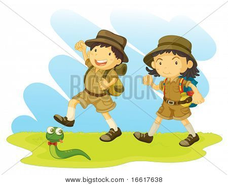 an illustration of a boy and girl scout going for a walk