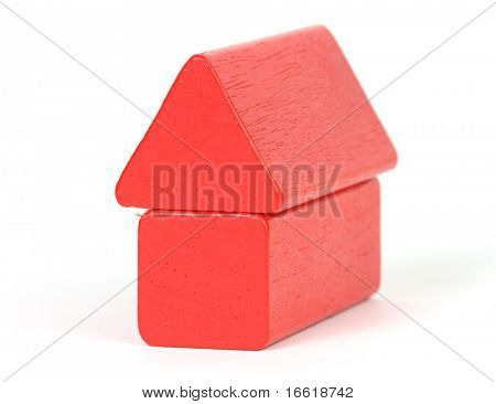 a photo of two red building blocks in the shape of a house