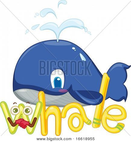 illustration of w for whale