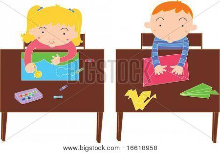 two school children in art class