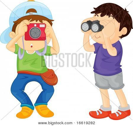 illustration of two boys on a school excursion
