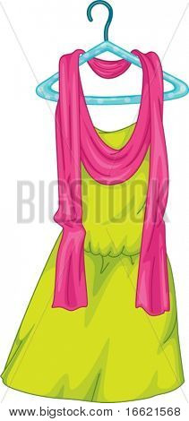 illustration of a yellow dress on a hanger