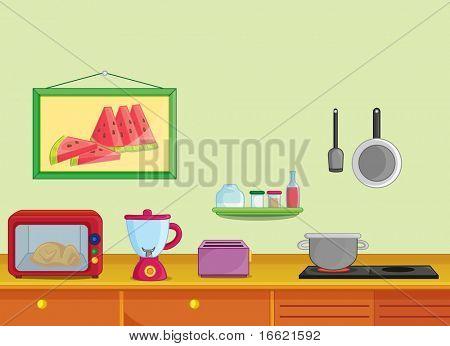 Illustration of kitchen with utencils