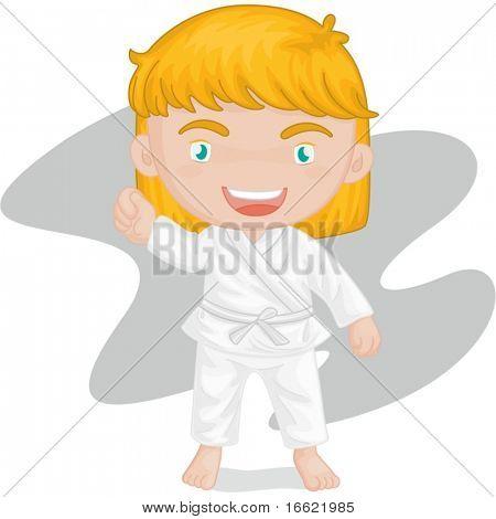 illustration of girl playing kung foo karate