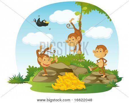 Ilustración de tres monos y plátanos