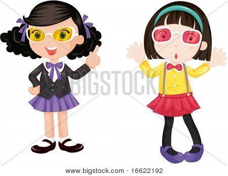 illustration of girls wearing eyeglasses