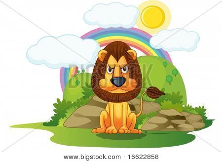 illustration of lion on rainbow background