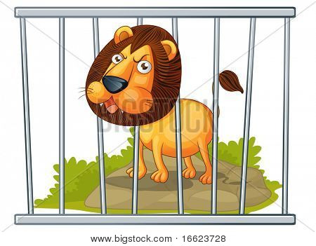illustration of lion in cage