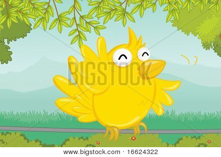 illustration of bird sitting on a wire