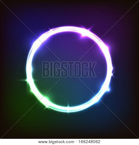 Abstract glowing background with colorful circles, stock vector