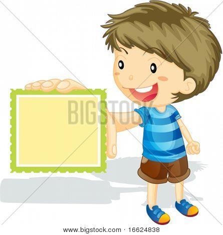 Menino com grandes dentes apresentando carimbo retangular