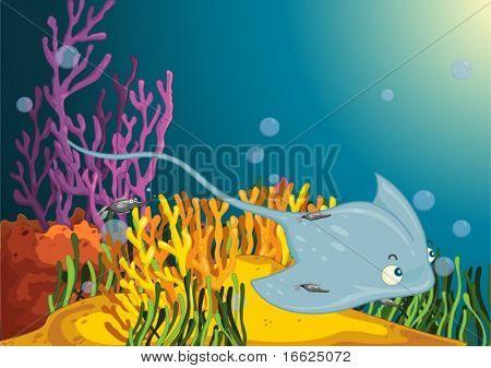 Sting Ray begleitet von kleineren Fische