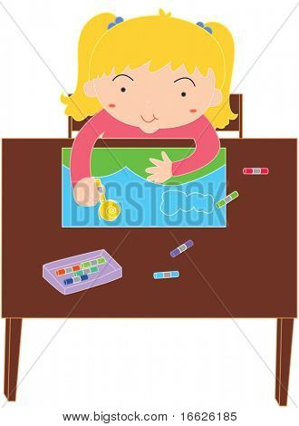 working at school (vector image available in portfolio)