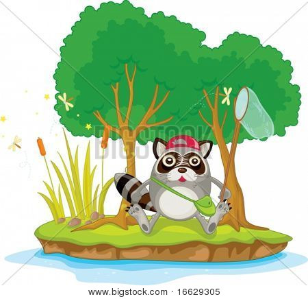 Illustration of  a cartoon animal on white
