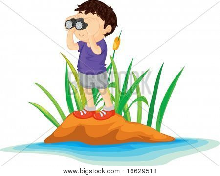 Illustration of  boy on island