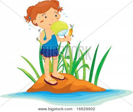 Illustration of  girl on island  - vector EPS of this image also available in my portfolio